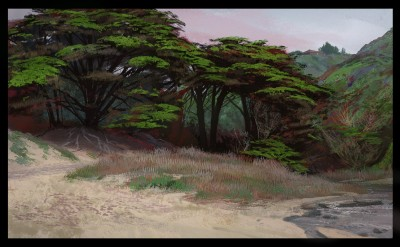 digital outdoor painting, shaddy concept art