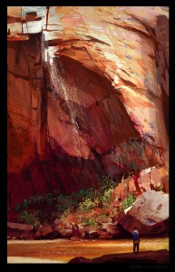 zion, concept art, shaddy safadi, digital life painting, digital plein air, emerald pools
