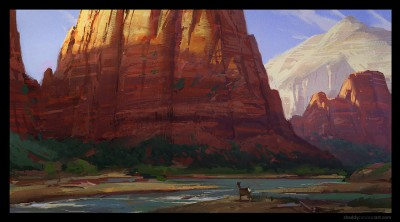 shaddy, angel's landing, zion, concept art, digital plein air, life painting