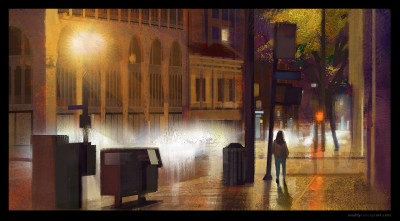 downtown LA, shaddy concept art, Digital Plein air, digital life painting