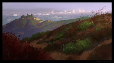 mandeville canyon, shaddy concept art, santa monica, digital life painting, plein air
