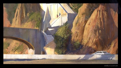palisades cliff, shaddy concept art, digital plein air, digital life painting.
