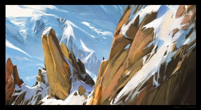 shaddy safadi, concept art, aiguille du midi, digital life painting, digital plein air