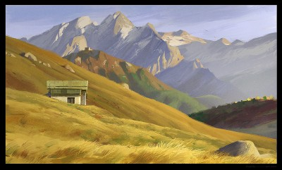 shaddy concept art, sella pass, italian alps, digital plein air, digital life painting