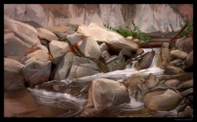 shaddy conept art, digital plein air, Arroyo Seco Creek