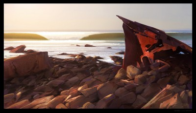 shaddy concept art, dominator shipwreck, palos verdes, shaddy, safadi, digital plein air, digital life painting, plein air