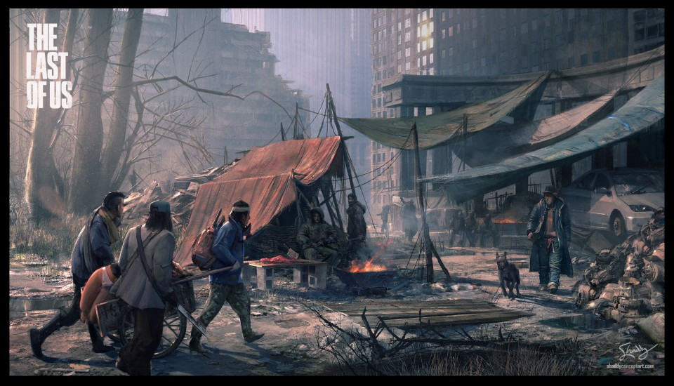 concept art, shaddy safadi, last of us, cannibal city, joel, ellie, Playstation 3